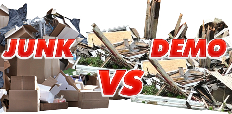 Junk Removal Trash VS Demolition Debris